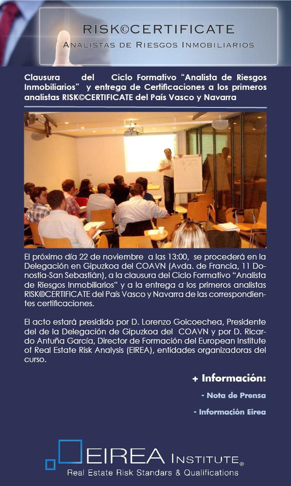Clausura Ciclo Formativo Analista Riesgos Inmobiliarios